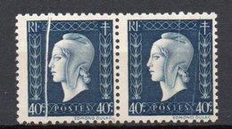 - FRANCE Variétés 684c ** - 40 C. Bleu-noir Marianne De Dulac 1945 - PLI ACCORDÉON - Cote 85 EUR - - Errors & Oddities
