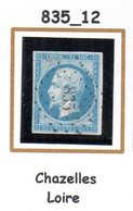 France : Petit Chiffre N° 835 : Chazelles ( Loire ) Indice 12 - Marcophilie (Timbres Détachés)