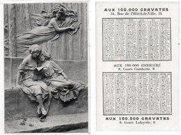 Calendrier 1906 - Aux 100 000 Cravates - Aux 100 000 Chemises - Paris  (112714) - Petit Format : 1901-20