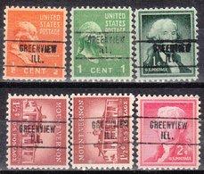 USA Precancel Vorausentwertung Preo, Locals Illinois, Greenview 748, 6 Diff. - Vereinigte Staaten