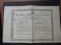 THE EMERALD MINES OF COLUMBIA - TITRE DE 20 ACTIONS DE 1 £ - LONDRES 1889 - Shareholdings