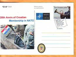Croatia 2019 Y Postcard Overprint 10th Ann Of NATO Membership Postmark Zagreb 01.04. - Croatia
