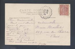 Ambulant Convoyeur Ligne Esternay à Longueville 1904 129 Semeuse CP Provins Rétable De L' Hôtel Dieu Monument Historique - Poste Ferroviaire