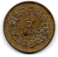 5 Francs 1938  Bronze Alu  -  état  TB+ - J. 5 Francs