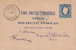 PORTUGAL 1885   ENTIER POSTAL/GANZSACHE/POSTAL STATIONERY CARTE DE LISBOA - Postal Stationery