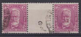 FRANCE 1939 : Victor Hugo (Y&T 293), Paire Avec Pont Et Millésime '9' , Oblitérée - Millesimi