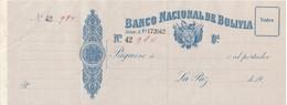 TALON - BILLETE DE BOLIVIA DEL BANCO DE LA NACION DE BOLIVIA NUMERADO (MUY RARO) - Bolivia