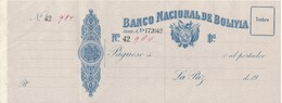 TALON - BILLETE DE BOLIVIA DEL BANCO DE LA NACION DE BOLIVIA NUMERADO (MUY RARO) - Bolivië