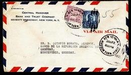 A6095) US Luftpostbankbrief New York 01/22/35 N. Montevideo / Uruguay M. Perfin - Briefe U. Dokumente