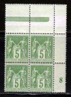 France 1898 Yvert 106 ** TB Bloc De 4 Millesime - 1876-1898 Sage (Type II)
