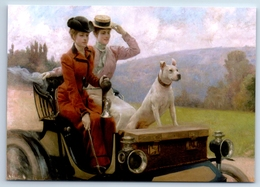 PRETTY LADY Woman In Old Car With Dog Fashion By Stewart New Unposted Postcard - Illustrateurs & Photographes