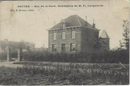Pottes.   -   Rue De La Gare.   Habitation De M. F. Langouche.    Prachtige Kaart!   -  1908  Naar   Jemappes - Celles