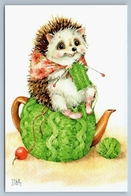 HEDGEHOG Knits A Scarf On A Teapot Art Russian Modern Postcard - Animals