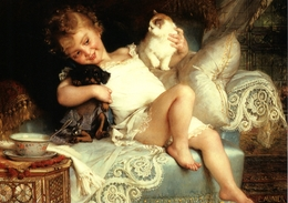 LITTLE GIRL With CAT And Dog Soup FINE Art By Munler New Postcard - Kinderen