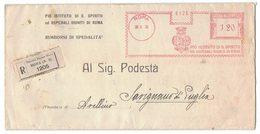 AP11   Regno 1938 Piego Racc. X Savignano Di Puglia Annullo Mecc.rosso Pio Istituto S.Spirito.... + Amb. Napoli - Bari - 1900-44 Vittorio Emanuele III