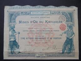 RUSSIE - MINES D'OR DU KATCHAR - TITRE DE 5 ACTIONS ORDINAIRES  - BRUXELLES 1897 - Actions & Titres