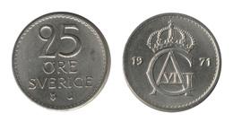 Sweden / 1971 / 25 Ore / KM# 836 / XF - Suède