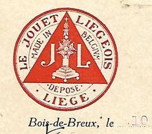 Lettre 1/2 Format 1920 / BELGIQUE / BOIS DE BREUX LES LIEGE / Le Jouet Liégeois - Belgio