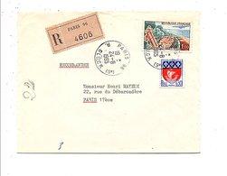 AFFRANCHISSEMENT COMPOSE SUR LETTRE RECOMMANDEE DE PARIS 96 1965 - Storia Postale