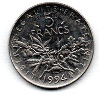 -  5 Francs 1994 Dauphin    -  état  SUP - France
