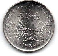 -  5 Francs 1989   -  état  SPL - France
