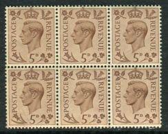 GRANDE  BRETAGNE ( POSTE ) Y&T N°  216  EN  BLOC  DE  6  TIMBRES  NEUFS  SANS  TRACE  DE  CHARNIERE . - 1902-1951 (Rois)