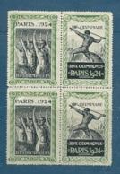 Vignettes émises à L'occasion Des Jeux Olympiques De PARIS En 1924 , Bloc De 4 - Cw34601 - Commemorative Labels