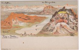 Suisse Illustrateur Emil Hansen  Montage Surrealiste Rigi U Pilaus - Illustratori & Fotografie