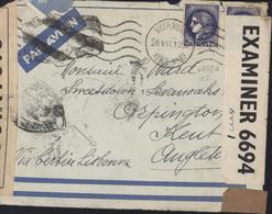 CAD Nice Pl Wilson 28 5 41 Censure Contrôle Bande + Grande Bretagne Passée Par Portugal Via Cerbère + Lisbonne Guerre 39 - Marcophilie (Lettres)