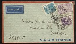 Lettre Avion Air France Rio De Janeiro Le 30/09/1935  N°208;261; PA N°25 Arrivée Mareuil 14/10/1935  Via Toulouse  B/TB - Covers & Documents