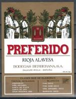 Etiquette De Vin D' Espagne  * Rioja - Preferido * - Etiquettes