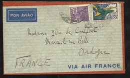 Lettre Avion Air France Rio De Janeiro Le 10/10/1935  N°247 Et PA N°31  Arrivée à Mareuil Sur Belle Le 18/10/1935   B/TB - Brésil