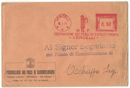 AP17   Italia,Italy Red Meter / Freistempel / Ema 1937 P.N.F. Federazione Dei Fasci Da Combattimento Vercelli - Affrancature Meccaniche Rosse (EMA)