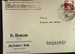 Fern-Bf GRABOW Gummist. -Behördenpost- Dachpappenfabrik Teerdestillation Fr. Biemann 3.5.50 SSt. Versicherung Nach Bln - DDR