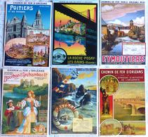 Lot De 6 CPM Publicitaires Du CHEMIN De FER D'ORLEANS : Orléans, Poitiers, Belle Ile En Mer, Eymoutiers, Bourbon .... - Chemins De Fer