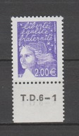 FRANCE / 2002 / Y&T N° 3457 AVEC PHO ** : Luquet 2.00 € Violet (de Feuille Gommée) BdF Bas & N° Presse - Gomme Intacte - France