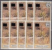 10x Swaziland 1984, Aloe, 10 On 4 Ct With Year 1983 (MNH, **) - Postzegels