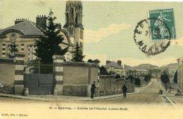 Cpa Epernay (51) Entrée De L'Hôpital Auban Noët (carte Toilée Et Colorisée) - Epernay