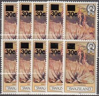 10x Swaziland 1985, Aloe, 30 On 2 Ct With Year 1983 (MNH, **) - Postzegels