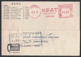 AP19   Italia,Italy Red Meter / Freistempel / Ema 1970  SEAT Torino - Affrancature Meccaniche Rosse (EMA)