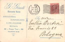 """0361 """"G. GIUSTI - MERCANTE SARTO - ABBIGLIAMENTI AUTOMOBILISTICI E PER AVIAZIONE - ROMA"""" CART. ORIG. SPED. 1915 - Negozi"""