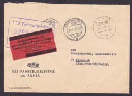 """RUHLA Fahrzeugelektrik ZKD-Brief 18.4.68 Nach Eisenach Mit Rotem ZKD-Kontrolle Für """"Aushändigung Als Gwöhnliche ..! - [6] Oost-Duitsland"""