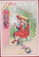 Old Chromo Poppenkast  Puppetry Marionnette Children Enfants Kinderen Poupee Doll Kinderpop Pop Litho Lithographie - Chromos