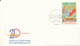 Cuba FDC 1-10-1985 XX Aniversary Central Committee Communist Party Of Cuba With Cachet - FDC