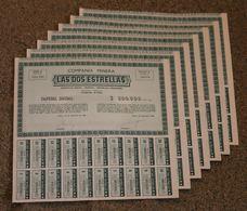 RFRA152 Scripophilie Actions - 7X COMPANIA MINERA LAS DOS ESTRELLAS 1 PIASTRE MEXICO 1948 (série A) - Mines