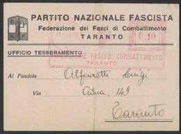 AP25   Italia,Italy Red Meter / Freistempel / Ema 1942 Federazione Fasci Di Combattimento Taranto - Affrancature Meccaniche Rosse (EMA)