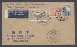 DUTCH INDIES. 1931 (5 Aug). First Flight Medan - Singapore (6 Aug). Air Multifkd Env. Fine Arrival. - Netherlands Indies
