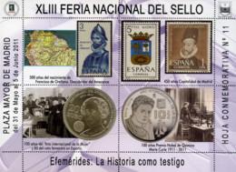 Ref. 348190 * NEW *  - SPAIN Vignettes . 2011. XLIII FERIA NACIONAL DEL SELLO - LA HISTORIA COMO TESTIGO - Variétés & Curiosités