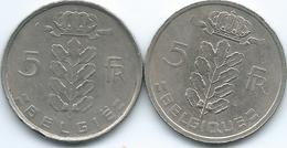 Belgium - Baudouin - 5 Francs - 1953 - French (KM134.1) & 1974 - Dutch (KM135.1) - 1951-1993: Baudouin I
