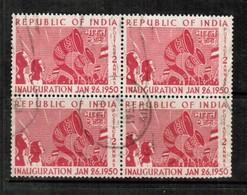 INDIA  Scott # 227 VF USED BLOCK Of 4 (Stamp Scan # 484) - 1950-59 Republic